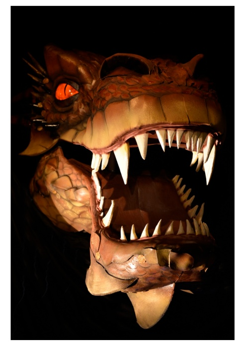 Smaug puppet. BA top up Magnus Yule Anna Harding, Stephanie Farmer
